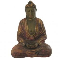 Figura de buda rezando con cuenco