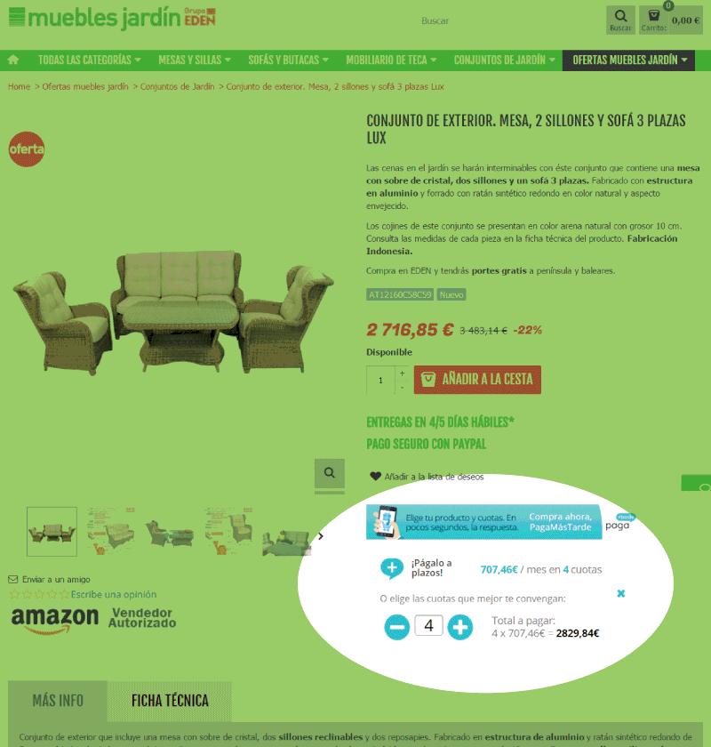 Paga mas tarde tus muebles de jardin blog tienda eden de for Financiar muebles sin nomina