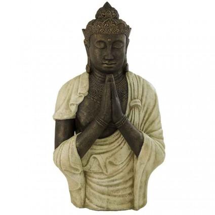Estatua budista rezando en color blanco