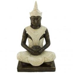 Figura budista en color blanco rústico