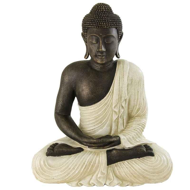 figura buda meditando en blanco rustico