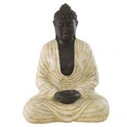 Estatua budista en color blanco rústico