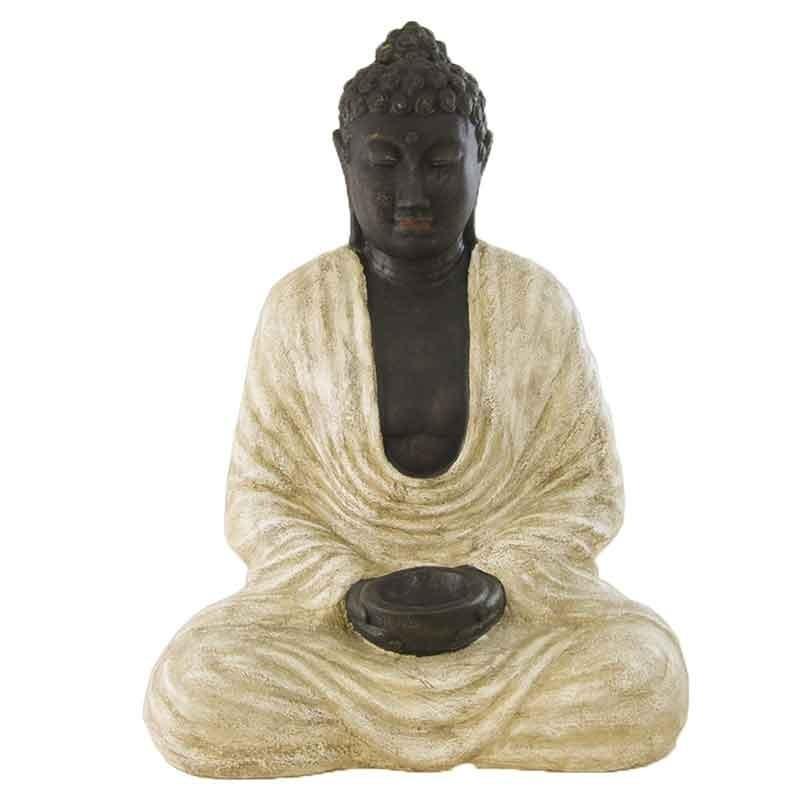 Estatua budista en color blanco rustico - Figuras buda decoracion ...