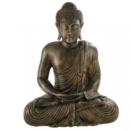 Estatua buda meditando de piedra y fibra