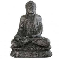 Buda jardín de piedra en color plata