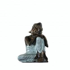 Figura buda descansando color gris perla