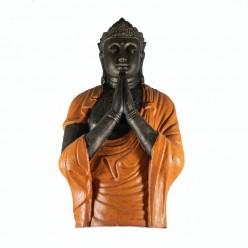 Estatua buda rezando con túnica naranja