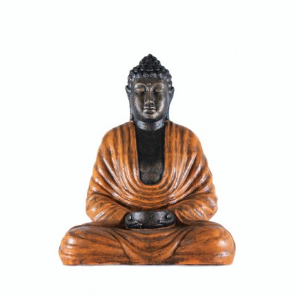 Figura de buda con cuenco color naranja