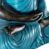 Figura de buda con manto turquesa